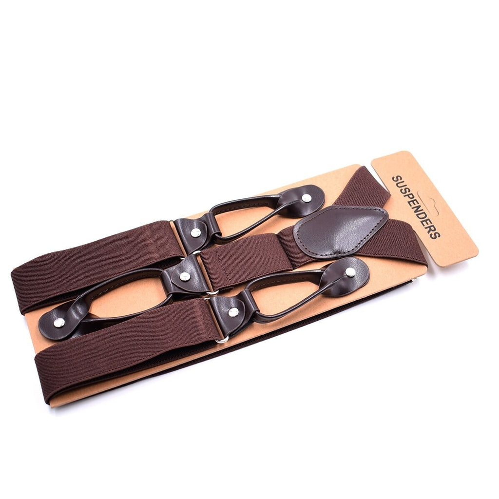 Black Blue Brown Suspenders for Men PU Leather Trimmed Button End Adjustable Elastic Tuxedo Suspenders Braces Men's Fashion Accessories