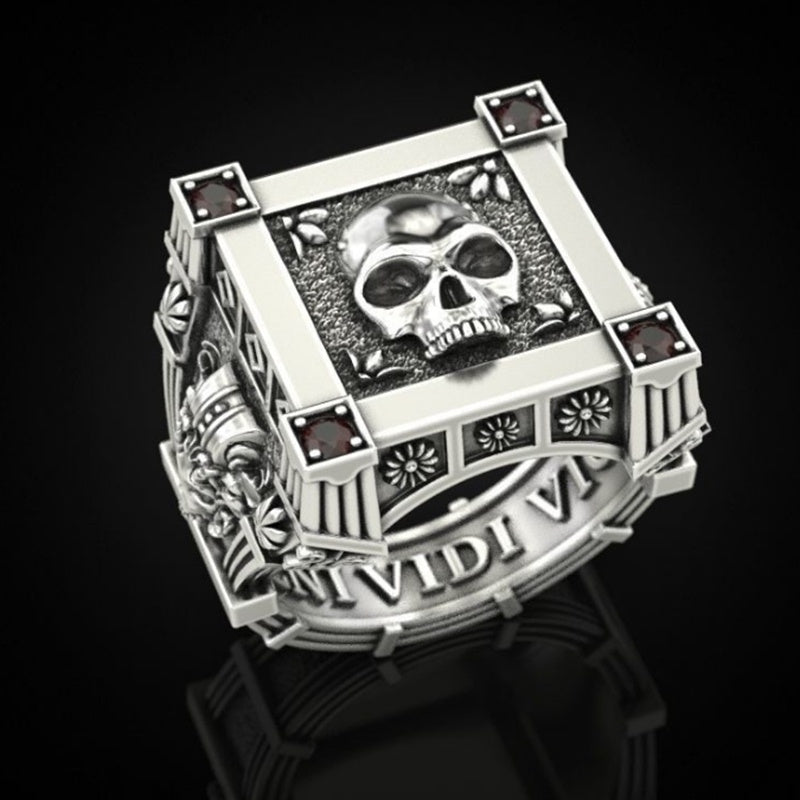 Punk Men's 316L Stainless Steel Skull Flower Red Zircon Crystal Stamp Ring Fashion Men and Women Skull Jewelry
