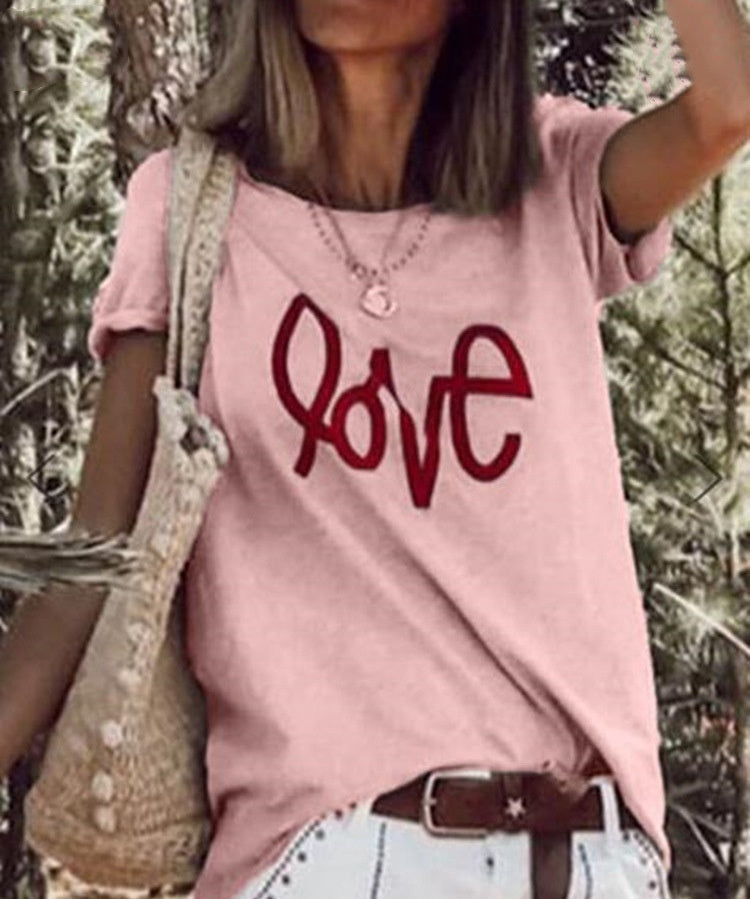 XS-5XL Plus Size Fashion Tops Summer Clothes Womens Fashion Short Sleeve Casual O-neck Cotton Shirts Ladies Letter Printed Loose T-shirts