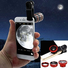 Load image into Gallery viewer, 3-in-1 Multifunctional Phone Lens Kit Fish Lens+Macro Lens + Wide Angle Lens    QP