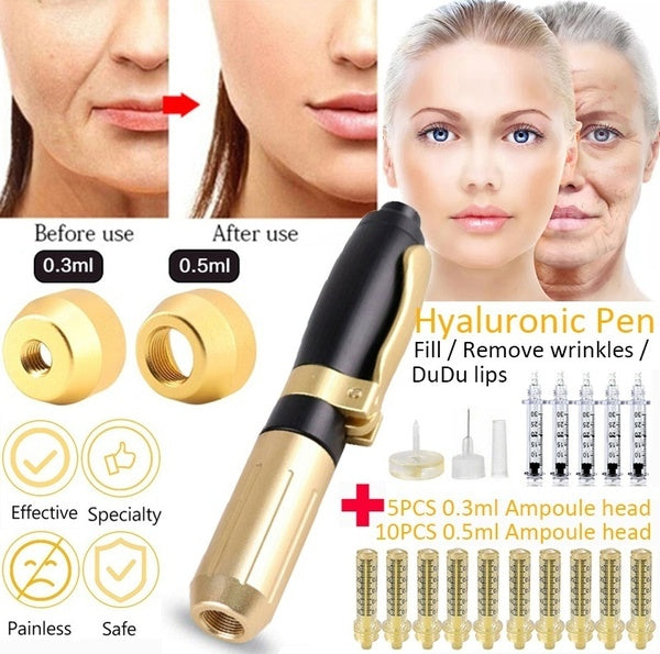 2020 New Hyaluron Pen 2 In 1 Two Head 0.3ml &0.5ml Hyaluronic Acid Atomizer Moisturizing Lips Lift Wrinkle Removal Filler Needle Free