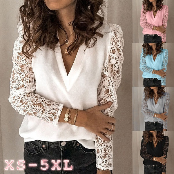 Plus Size Women's Fashion Lace Long Sleeve Sexy Deep V-neck Shirt Blouse tops