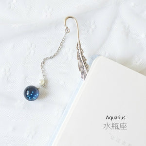 Creative Noctilucent 12 Constellation Bookmark Pendant Metal Book Mark Stationery School Office Supply