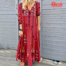 Load image into Gallery viewer, 2020 Fashion Women V-Neck Dress Long Skit Long Sleeve Dress Beach Bohemian Maxi Dress XXS-5XL