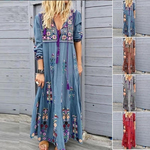 2020 Fashion Women V-Neck Dress Long Skit Long Sleeve Dress Beach Bohemian Maxi Dress XXS-5XL