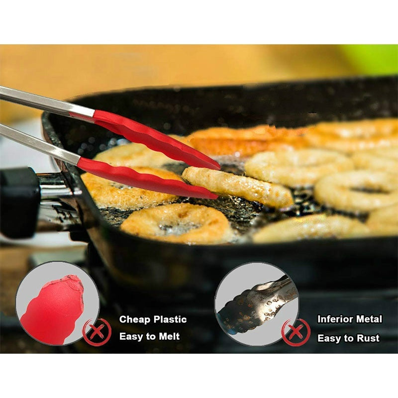 8/10/12inch Stainless Steel Silicone Kitchen Tongs BBQ Salad Food Clip Fruits Clip Salad Bread Cooking Food Serving Tongs Kitchen Tools( random color)