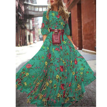 Load image into Gallery viewer, Summer Women's Bohemian Retro Style Print Cropped Sleeve Skirt Beach Skirt
