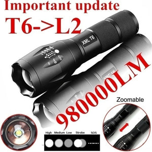 CREE T6 Led Flashlight 980000 Lumens Lighting Zoomable Torch 5 Modes 18650 Battery Outdoor Penlight