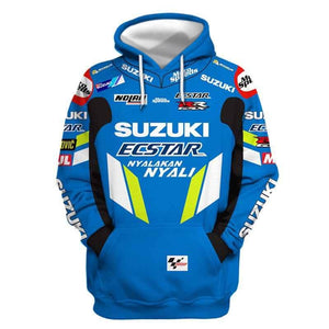Men's Fall Winter Suzuki Riding Motorcycle 3d Ptinted Hooded Pullover