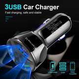 Universal Car USB Charger Quick Charge 3.0 Fast Charging In Car 3 Port Mobile Phone Charger Adapter