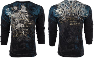 Mens Cool 3D Printed AFFLICTION LONG SLEEVE T-Shirt CASCO Eagle BLACK Biker Mens Shirt