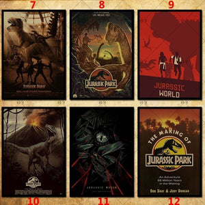 30 Kind Jurassic Park Poster Dinosaur Movie Poster Kraft Photo Wallpaper Poster Decoration 42 X 29.7cm(11.6*16.5 Inch)