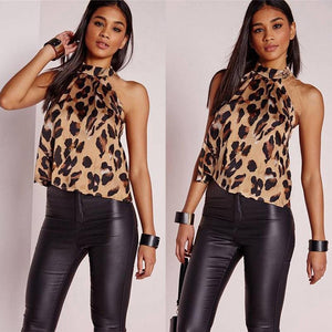 Womens Leopard Printed Halter Neck Vest Fashion Halter Sexy Sleeveless New Top