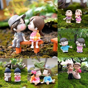 6 Styles  Miniature Dolls Cute Couple Lovers Home Garden Ornaments Fairy Dollhouse Wedding Decorations