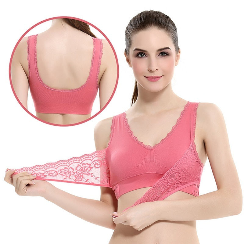 Woman Front Cross Side Buckle Wireless Lace Bra Breathable For Women Sport Yoga Push Up Bra Slimming Underwear Bralette Top Camisole Shapers Shapewear