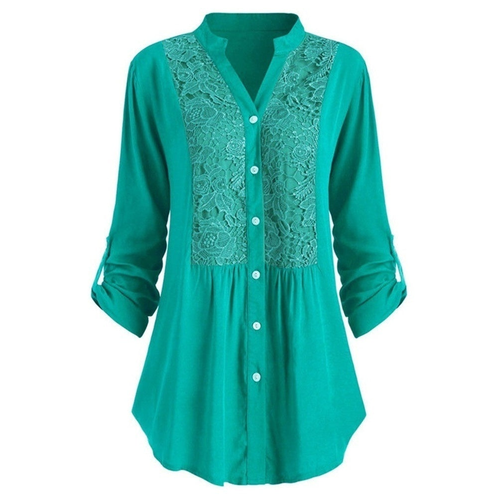 Plus Size XS-8XL Women Solid Color Lace Patchwork Single Breasted Shirt Casual Stand Collar Long Sleeves T-Shirt Loose Cotton Blouse
