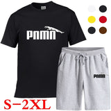 New Summer Men's Casual Suit Loose Cotton Sports Quick-drying Fitness Shorts Short-sleeved Shirt Shorts 7 Colors