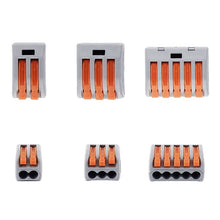 Load image into Gallery viewer, 60Pcs/Set New Home Wire Connector ReusablePole Cable Clamp  2/3/5 Terminal Block Lever