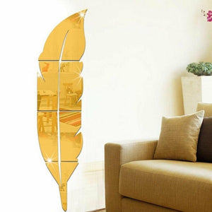 Modern Feather Mirror Decals Wall Sticker Removable Home Room DIY Decor