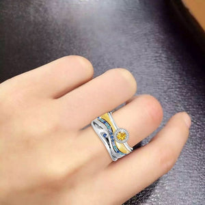 925 Sterling Silver Sapphire Mosaic Multicolor Zircon Square Princess Ring Ladies Wedding Ring Set Gift For Women