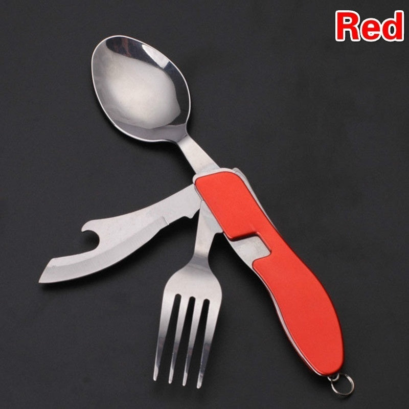 Folding Tableware Knife Fork Stainless Steel Combination Fork Multifunctional Swiss Army Knife Multipurpose Combination Folding Tableware Portable Tableware