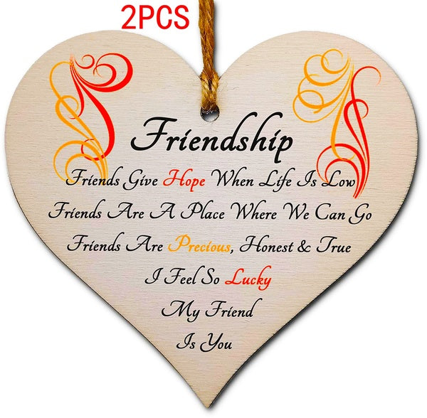 2PCS Wooden Hanging Heart Plaque Gift Perfect for your Best Friend Friendship Keepsake  party decoration