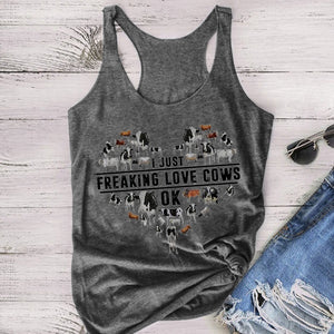 2020 Plus Size New Fashion Hot Sale Summer Women's Sleeveless Tank Top I Just Freaking Love Cows Ok Letter Cow Print Patterned Tank Top Cotton Short Loose Cool T-shirt Fitness Vest Cute Sweet Shirt