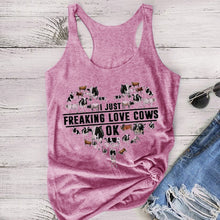 Load image into Gallery viewer, 2020 Plus Size New Fashion Hot Sale Summer Women's Sleeveless Tank Top I Just Freaking Love Cows Ok Letter Cow Print Patterned Tank Top Cotton Short Loose Cool T-shirt Fitness Vest Cute Sweet Shirt