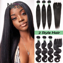 Load image into Gallery viewer, 16/18/20/22/24/26/28/30/32 Inch Hair Bundles Brazilian NEW Arrival Straight & Body Wave Hair Extensions Brazilian Virgin Hair Weave