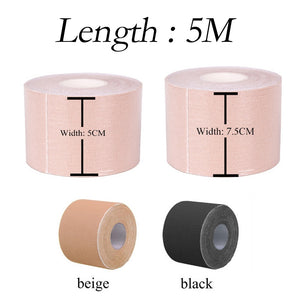 16ft  Length: 5m  Breast Lift-up Tape Push-up Support and Shaping Tape Physical Therapy Fitness Workout Tape Boob Tape Women Breast Nipple Caps Push Up Bra Invisible Body Breast Lift Adhesive Tape
