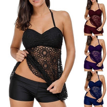 Load image into Gallery viewer, Summer Women Fashion Two Pieces Bathing Suit Slim Halter Swimdress + Shorts Set Lace Swimsuits