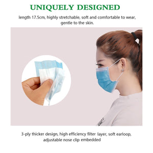 SWA 20/50 Pcs Disposable Sanitary Masks - Face Mask with Earloops Surgical Medical Face Masks Hypoallergenic Protect Yourself Against Dust Pollen Allergens Flu 3 Ply Safety Face Masks(Blue)