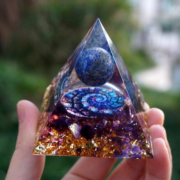 Magic Orgonite Pyramid 60mm Lapis Lazuli Crystal Sphere With Amethyst Natural Cristal Stone Energy Healing Reiki Chakra Orgone