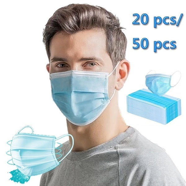 20 or 50 Pcs Blue Disposable Surgical Face Mask Dental Virus Protection for All People Ready Stock