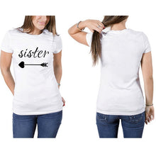 Load image into Gallery viewer, summer best sister short sleeve letter print t-shirts fashion leisure women t-shirt tops