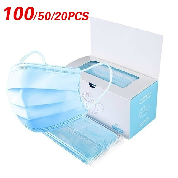 100/50/Pcs Disposable 3-Layer Masks, Anti Dust Breathable Disposable Earloop Mouth Surgical Face Mask Medical mask