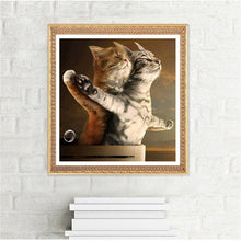 Load image into Gallery viewer, 30x30cm 5D DIY Diamond Painting Couple Cats Mosaic Embroidery Kit Wall Decor