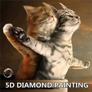 30x30cm 5D DIY Diamond Painting Couple Cats Mosaic Embroidery Kit Wall Decor