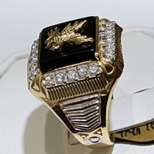 Load image into Gallery viewer, Luxury Exquisite 18k Gold Plated Two-tone Enamel Eagle Fly Rings for Men Persoanlity Hip Hop Punk Birthday Anniversary Gift Party Banquet Ring Size 6-13