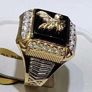 Luxury Exquisite 18k Gold Plated Two-tone Enamel Eagle Fly Rings for Men Persoanlity Hip Hop Punk Birthday Anniversary Gift Party Banquet Ring Size 6-13