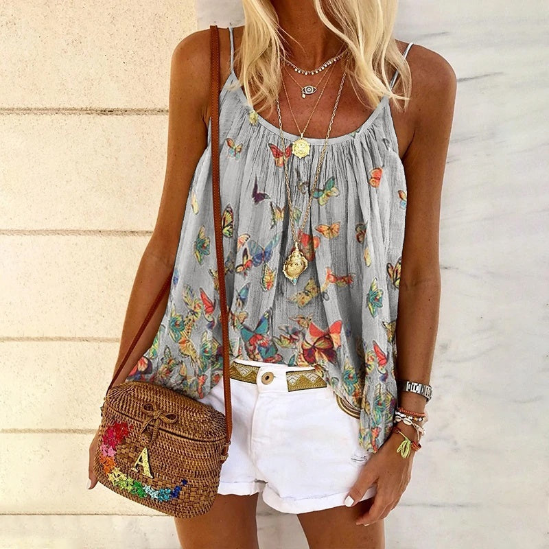 New Fashion Women Casual Boho Loose Butterfly Print Camisole Tank Tops Plus Size