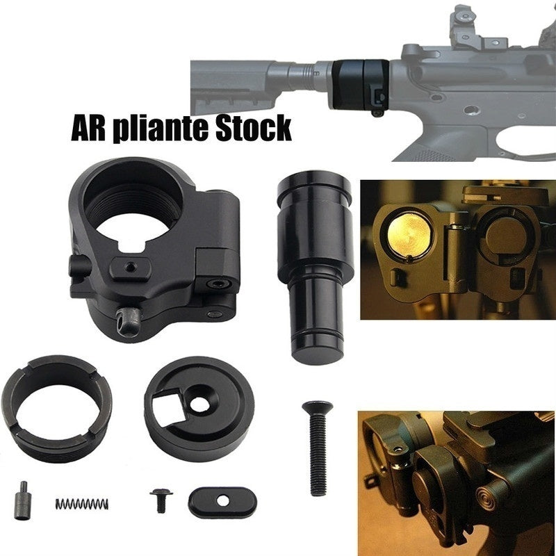 2020 High Quality Professional Outdoor Tactics Hunting Accessories AR Folding Stock Adapter for M16/M4 SR25 Series GBB(AEG) For Airgun Air Rifle(Tan/Black)