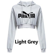 Load image into Gallery viewer, Womens Cropped Hoodie Short Sweatshirt Plain Pullover Hooded Crop Tops Sexy Casual Long Sleeve Hooded