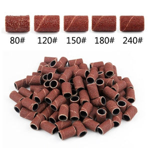 100Pcs/Pack Sanding Bands Manicure Pedicure Nail Electric Drill Machine Grinding Sand Ring Bit
