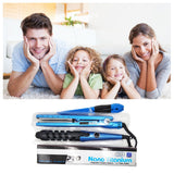 Multifunction Hair Styling Tool Flat Iron - Spiral Curling Iron - Hair Comb,Blue
