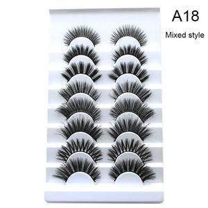 5/8/20 Pairs Eye Makeup Tools Natural Long Wispy Fluffy Handmade False Eyelashes 5D Mink Hair Eye Lashes Extension Thick Cross