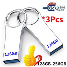 Load image into Gallery viewer, Real capacity 1pcs 128GB / 256GB USB 3.0 flash disk metal USB flash disk, and 2pcs  128GB-256GB and 3pcs 128GB-256GB pen drives Pendrive flash USB memory stick U disk storage