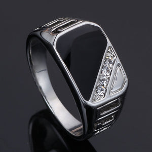 Fashion Men Rings Vintage Titanium Hollow Ring with Crystal
