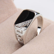 Load image into Gallery viewer, Fashion Men Rings Vintage Titanium Hollow Ring with Crystal