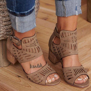 Nis Women Fashion Chunky Heel Sandals Hollow Out Platform Sandals Buckle Strap Sandals Casual Peep Toe Summer Shoes